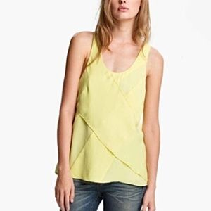 Rag & Bone Yellow Airi Asymmetrical Pleat Tank Top
